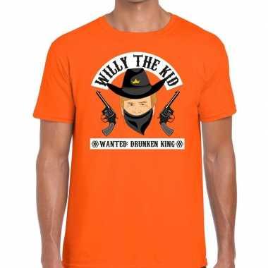 Koningsdag fun t-shirt willy the kid oranje heren