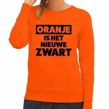 Koningsdag fun trui oranje is het nieuwe zwart oranje dames