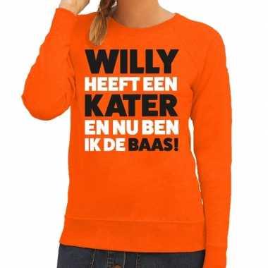 Koningsdag fun trui willy heeft een kater oranje dames