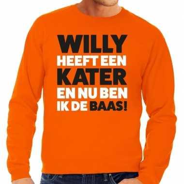 Koningsdag fun trui willy heeft een kater oranje heren