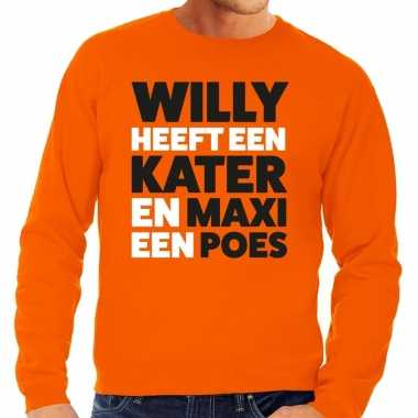 Koningsdag fun trui willy kater maxi poes oranje heren