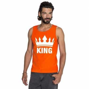 Koningsdag king mouwloos shirt oranje heren