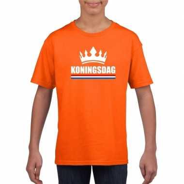 Koningsdag met een kroon shirt oranje kinderen