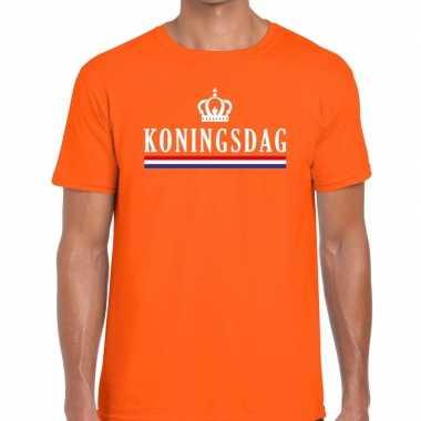 Koningsdag met vlag en kroontje t-shirt oranje heren