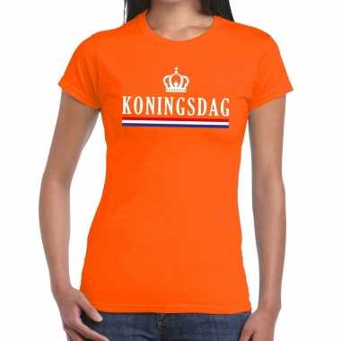 Koningsdag met vlag/kroontje t-shirt oranje dames