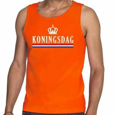 Koningsdag met vlag tanktop / mouwloos shirt oranje heren