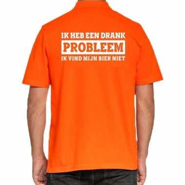 Koningsdag polo t-shirt oranje drank probleem voor heren
