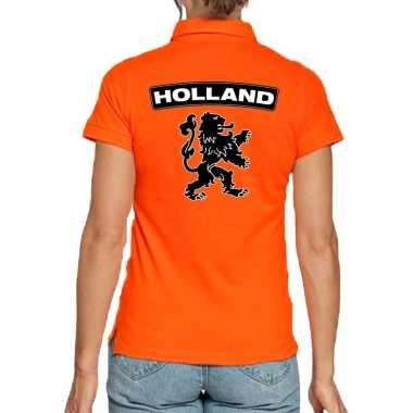 Koningsdag polo t-shirt oranje holland met grote zwarte leeuw voor da