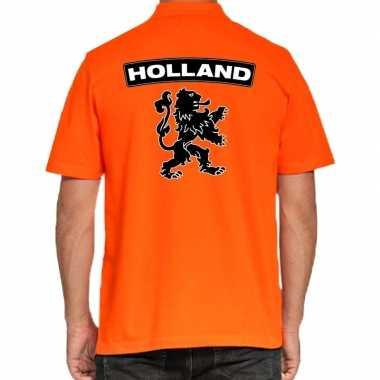 Koningsdag polo t-shirt oranje holland met grote zwarte leeuw voor he