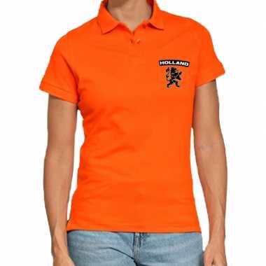Koningsdag polo t-shirt oranje holland met zwarte leeuw voor dames