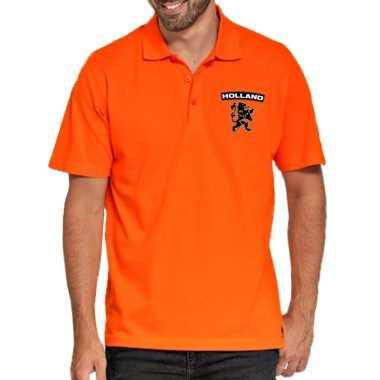 Koningsdag polo t-shirt oranje holland met zwarte leeuw voor heren
