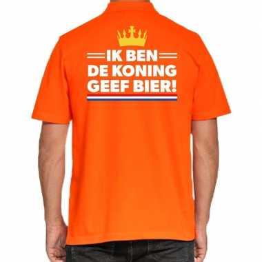 Koningsdag polo t-shirt oranje ik ben koning geef bier voor heren