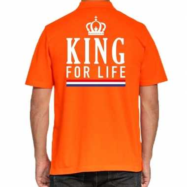 Koningsdag polo t-shirt oranje king for life voor heren