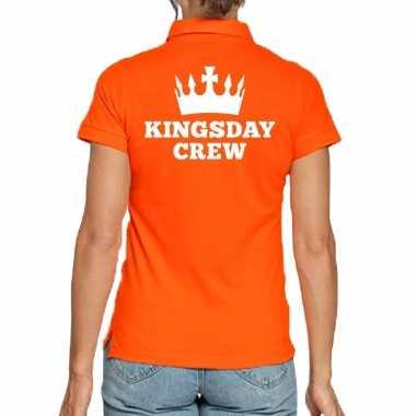 Koningsdag polo t-shirt oranje kingsday crew voor dames
