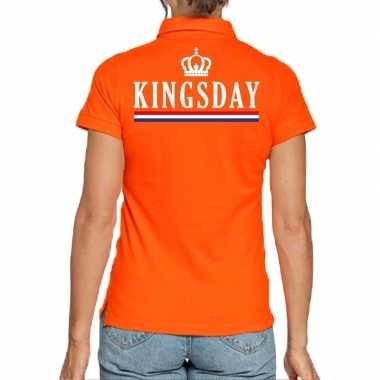 Koningsdag polo t-shirt oranje kingsday voor dames