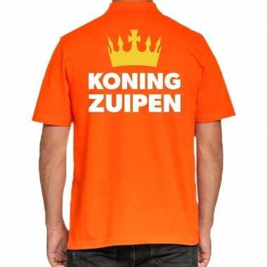 Koningsdag polo t-shirt oranje koning zuipen voor heren