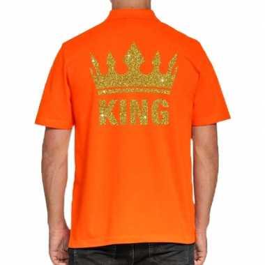 Koningsdag polo t-shirt oranje met gouden glitter king voor heren
