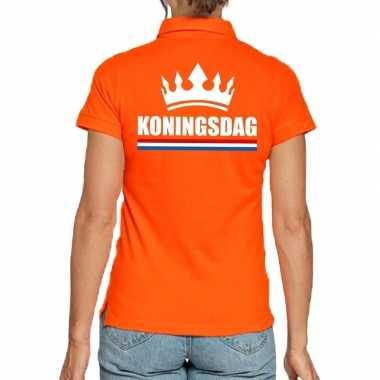 Koningsdag polo t-shirt oranje met kroon voor dames