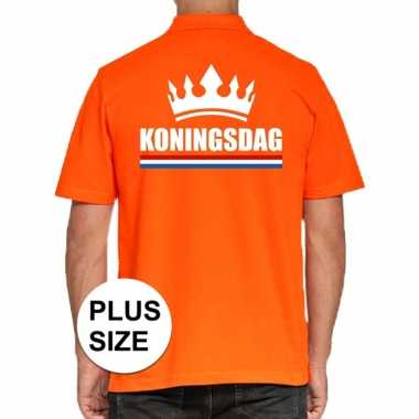 Koningsdag polo t-shirt oranje met kroon voor heren