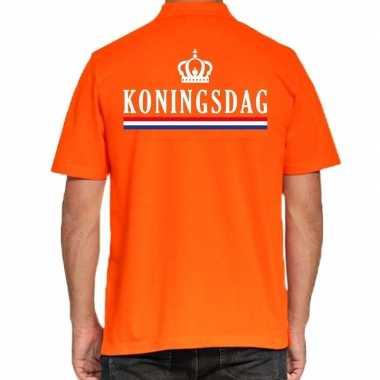 Koningsdag polo t-shirt oranje met kroontje voor heren