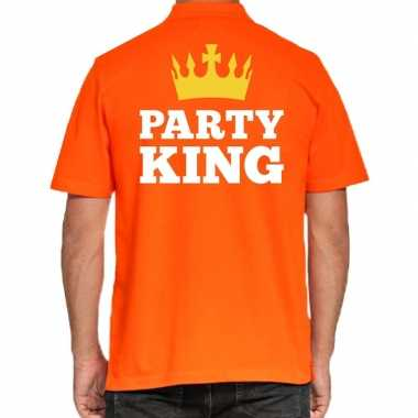Koningsdag polo t-shirt oranje party king voor heren