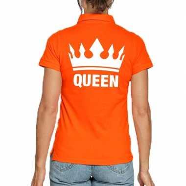Koningsdag polo t-shirt oranje queen voor dames