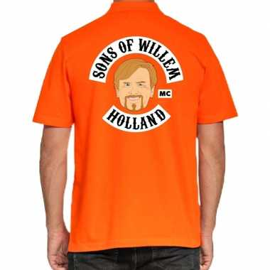 Koningsdag polo t-shirt oranje sons of willem holland mc voor heren