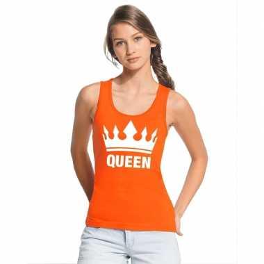 Koningsdag queen topje/shirt oranje dames
