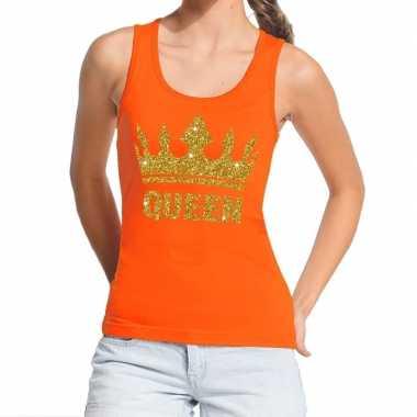 Koningsdag queen topje/shirt oranje met gouden glitters dames