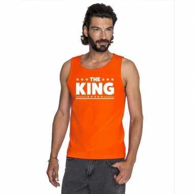 Koningsdag the king tekst mouwloos shirt oranje heren