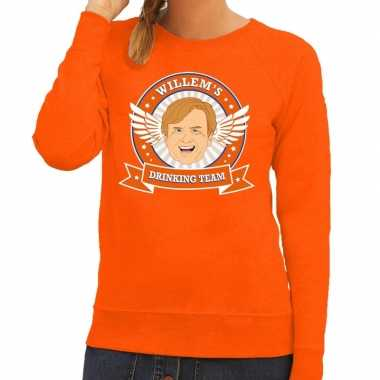 Koningsdag willem drinking team sweater oranje dames