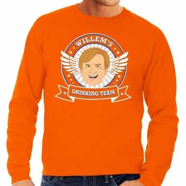 Koningsdag willem drinking team sweater oranje heren