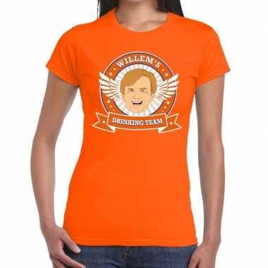 Koningsdag willem drinking team t-shirt oranje dames