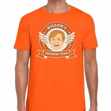 Koningsdag willems drinking team t-shirt oranje heren