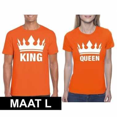 Koppel shirts koningsdag king & queen oranje dames en heren maat