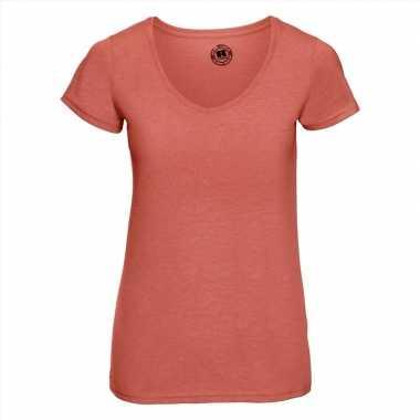 Koraal oranje dames t-shirts met v-hals