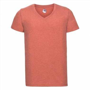 Koraal oranje heren t-shirts met v-hals