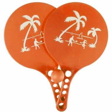 Kunststof beachball set oranje