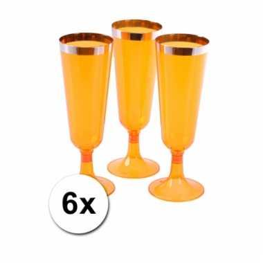 Kunststof oranje champagne glazen 6x
