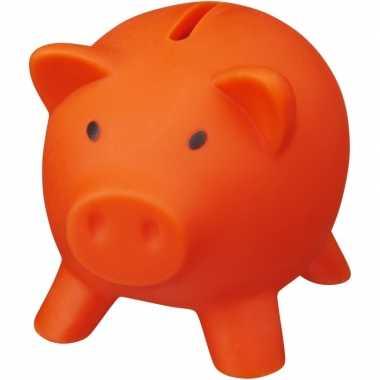 Kunststof varken mini spaarpot oranje 9 cm