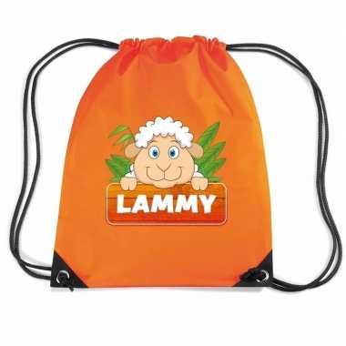 Lammy het schaapje trekkoord rugzak / gymtas oranje voor kinderen