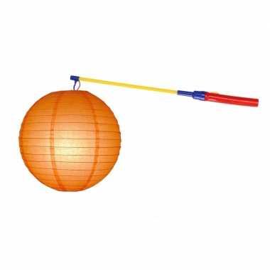 Lampionset oranje 25 cm met lampionstokje
