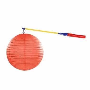Lampionset oranje 35 cm met lampionstokje
