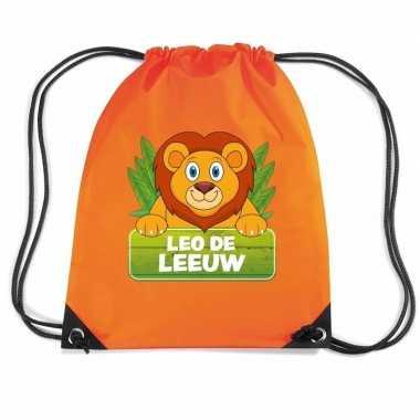 Leo de leeuw trekkoord rugzak / gymtas oranje voor kinderen