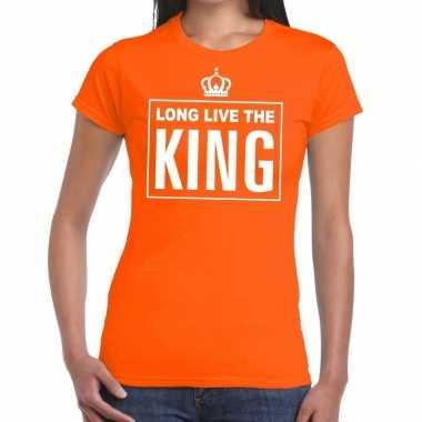 Long live the king engelse tekst shirt oranje dames