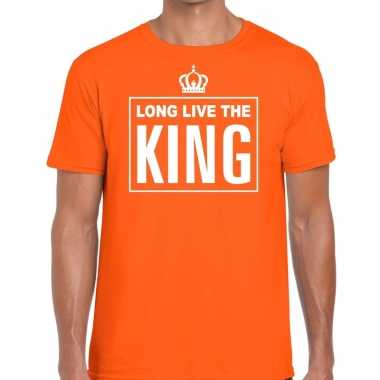 Long live the king engelse tekst shirt oranje heren