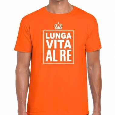 Lunga vita al re italiaans shirt oranje heren
