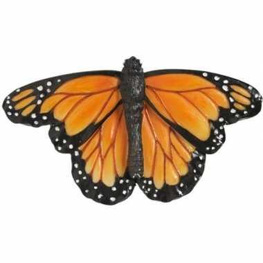 Magneet oranje monarch vlinder 7 cm koelkast magneetjes