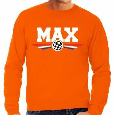 Max autocoureur supporter / racesport trui oranje voor heren