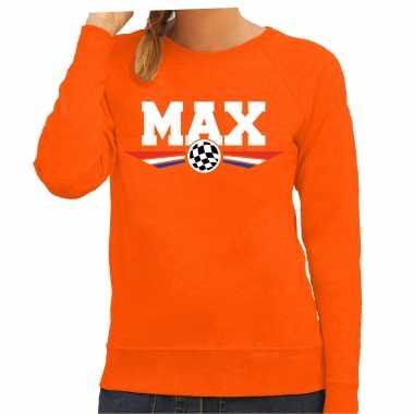 Max autocoureur supporter tekst trui oranje voor dames